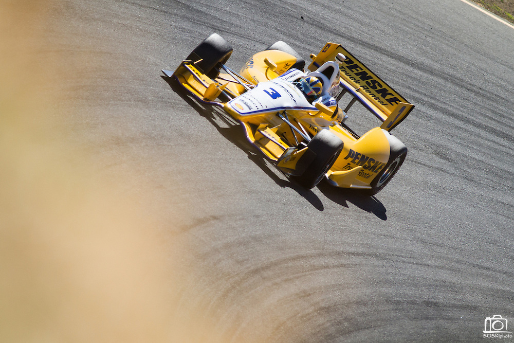 Helio Castroneves, #3, enters turn 6 during the GoPro Indy Grand Prix of Sonoma at Infineon Raceway in Sonoma, Calif., on Aug. 26, 2012.  Photo by Stan Olszewski/SOSKIphoto.