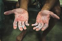 Gabriel Patterson's hands, Millcreek Momentum Climbing Gym, Salt Lake City, Utah.