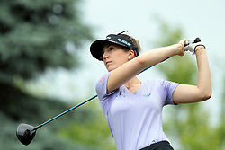 June 16, 2018 - Belmont, Michigan, United States - Sandra Gal of Germany tees off on the third tee during the third round of the Meijer LPGA Classic golf tournament at Blythefield Country Club in Belmont, MI, USA  Saturday, June 16, 2018. (Credit Image: © Jorge Lemus/NurPhoto via ZUMA Press)