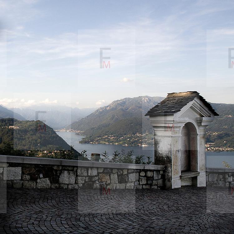 Il lago d'Orta visto dal belvedere del Santuario della Madonna del Sasso..Orta lake seen from Madonna del Sasso Sanctuary