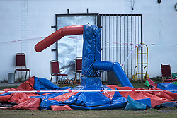 © Licensed to London News Pictures. 15/09/2019. London, UK. The scene at a children's play area in Jubilee Park in Edmonton, North London where a man, reported to be 30 years old, has bene stabbed to death. A man in his 40's has been arrested. Photo credit: Ben Cawthra/LNP