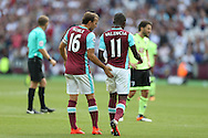 Mark Noble, West Ham United captain pats Enner Valencia of West Ham United as he is subbed off. Premier league match, West Ham Utd v AFC Bournemouth at the London Stadium, Queen Elizabeth Olympic Park in London on Sunday 21st August 2016.<br /> pic by John Patrick Fletcher, Andrew Orchard sports photography.