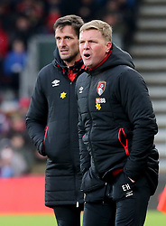 AFC Bournemouth manager Eddie Howe (right) and assistant Jason Tindall (left) on the touchline during the Premier League match at the Vitality Stadium, Bournemouth.