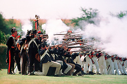 French ranks of the Napoleonic Association at a re-enactment event, Northamptonshire, England, UK.