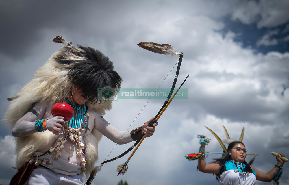 April 27, 2019 - Albuquerque, New Mexico, U.S. - Vernon Sanchez along with a group of dancers from Zuni Pueblo perform the Buffalo dance  at  the Gathering Of Nations in Albuquerque, New Mexico Saturday afternoon. (Credit Image: © Roberto E. Rosales/Albuquerque Journal via ZUMA Wire)