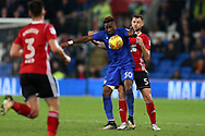 Omar Bogle of Cardiff City © is challenged by Tommy Smith of Ipswich Town (r).EFL Skybet championship match, Cardiff city v Ipswich Town at the Cardiff city stadium in Cardiff, South Wales on Tuesday 31st October 2017.<br /> pic by Andrew Orchard, Andrew Orchard sports photography.