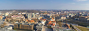 High-angle panoramic view of Old Town Vilnius, Lithuania, with the Neris River running through town.
