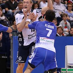 Hamburg, 24.05.2015, Sport, Handball, DKB Handball Bundesliga, HSV Handball - SG Flensburg-Handewitt : Johan Jakobsson (SG Flensburg-Handewitt, #19), Matthias Flohr (HSV Handball, #07)<br /> <br /> Foto © P-I-X.org *** Foto ist honorarpflichtig! *** Auf Anfrage in hoeherer Qualitaet/Aufloesung. Belegexemplar erbeten. Veroeffentlichung ausschliesslich fuer journalistisch-publizistische Zwecke. For editorial use only.