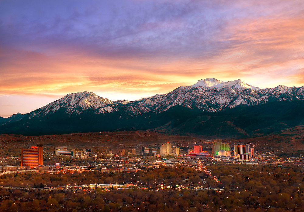 Reno Twilight Mountain Skyline