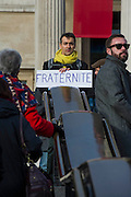 Je suis Charlie/I am Charlie - A largely silent (with the occasional rendition of the Marseilaise)gathering in solidarity with the march in Paris today.  Trafalgar Square, London, UK 11 Jan 2015