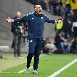 FRANKFURT May 3, 2019  Maurizio Sarri, head coach of Chelsea reacts during the UEFA Europa League semifinal first leg match between Eintracht Frankfurt and Chelsea FC in Frankfurt, Germany, on May 2, 2019. The match ended in a 1-1 draw. (Credit Image: © Ulrich Hufnagel/Xinhua via ZUMA Wire)