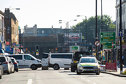 Police close roads in Finsbury Park, north London, where one man has died, eight people taken to hospital and a person arrested after a van struck pedestrians. Picture date: Monday June 19th, 2017. Photo credit should read: Matt Crossick/ EMPICS Entertainment.
