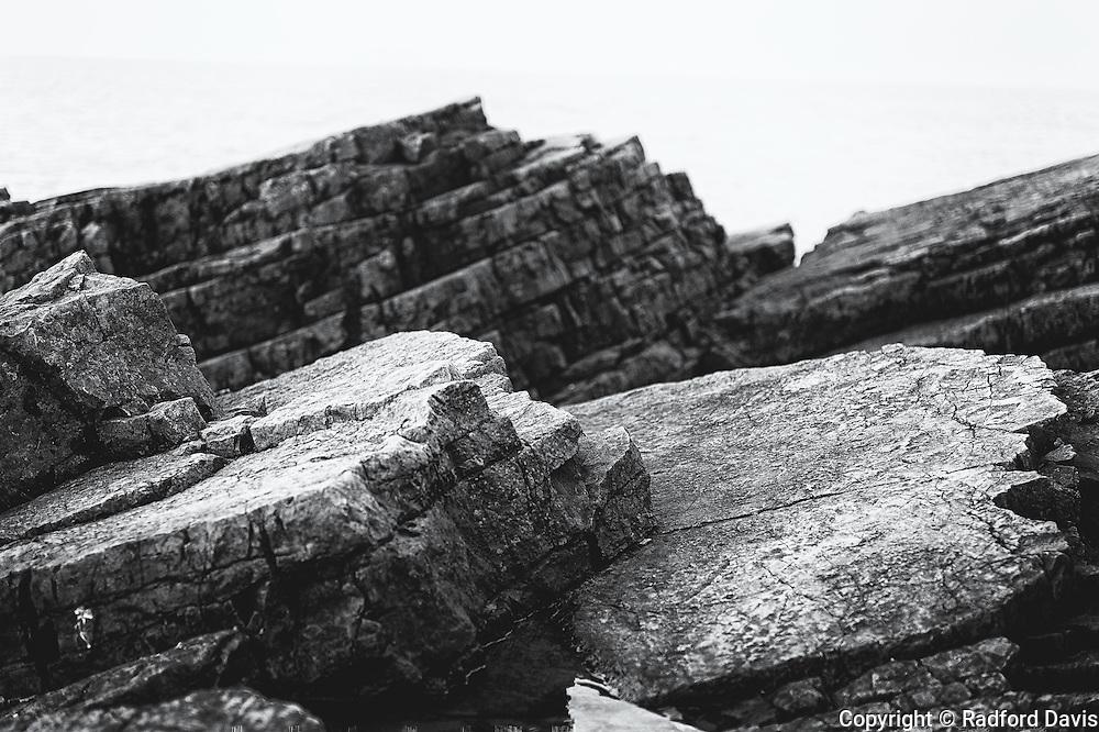 Rocks along the coast of England.