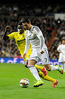 Real Madrid´s Cristiano Ronaldo and Villarreal CF´s Eric Bailly during 2014-15 La Liga match between Real Madrid and Villarreal CF at Santiago Bernabeu stadium in Madrid, Spain. March 01, 2015. (ALTERPHOTOS/Luis Fernandez)
