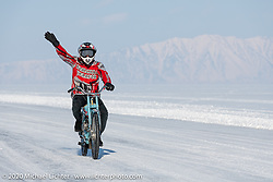 Team Uralgon's Vadim Varyhanov on his Zif-77 moped at the Baikal Mile Ice Speed Festival. Maksimiha, Siberia, Russia. Friday, February 28, 2020. Photography ©2020 Michael Lichter.