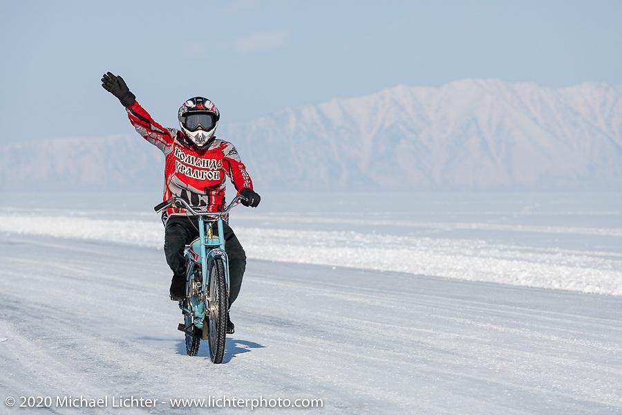 Team Uralgon's Vadim Varyhanov on his Zif-77 moped at the Baikal Mile Ice Speed Festival. Maksimiha, Siberia, Russia. Friday, February 28, 2020. Photography ©2020 Michael Lichter.