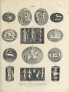 Egyptian, Indian and Persian Gems. Gem - Art highly prized for its beauty or perfection Copperplate engraving From the Encyclopaedia Londinensis or, Universal dictionary of arts, sciences, and literature; Volume VIII;  Edited by Wilkes, John. Published in London in 1810.
