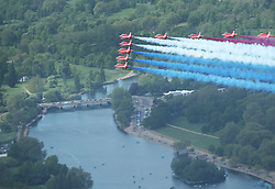 File photo dated 10/05/15 showing the Royal Air Force Red Arrows flying in formation over The Serpentine in Hyde Park, London to mark the 70th anniversary of VE Day, celebrating VE (Victory in Europe) Day in London, marking the end of the Second World War in Europe now 75 years ago.