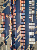 Aerial view of containers in Tacoma harbour, Washington, USA.