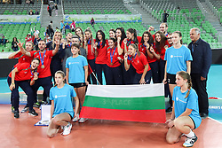Players of Bulgaria at medal ceremony after the volleyball match between National team of Turkey and Slovenia in Gold Medal game of Womens U23 World Championship 2017, on September 17, 2017 in SRC Stozice, Ljubljana, Slovenia. Photo by Morgan Kristan / Sportida
