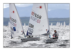 Alison Young, GBR 197658.Opening races in breezy conditions for the Laser Radial World Championships, taking place at Largs, Scotland GBR. ....118 Women from 35 different nations compete in the Olympic Women's Laser Radial fleet and 104 Men from 30 different nations. .All three 2008 Women's Laser Radial Olympic Medallists are competing. .The Laser Radial World Championships take place every year. This is the first time they have been held in Scotland and are part of the initiaitve to bring key world class events to Britain in the lead up to the 2012 Olympic Games. .The Laser is the world's most popular singlehanded sailing dinghy and is sailed and raced worldwide. ..Further media information from .laserworlds@gmail.com.event press officer mobile +44 7775 671973  and +44 1475 675129 .