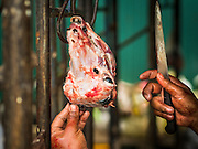 12 SEPTEMBER 2016 - BANGKOK, THAILAND: A man cleans the head of a sacrificed goat during the Qurbani (ritual sacrifice of livestock) at the celebration of Eid al-Adha at Haroon Mosque in Bangkok. Eid al-Adha is also called the Feast of Sacrifice, the Greater Eid or Baqar-Eid. It is the second of two religious holidays celebrated by Muslims worldwide each year. It honors the willingness of Abraham to sacrifice his son, as an act of submission to God's command. Goats, sheep and cows are sacrificed in a ritualistic manner after services in the mosque. The meat from the sacrificed animal is supposed to be divided into three parts. The family retains one third of the share; another third is given to relatives, friends and neighbors; and the remaining third is given to the poor and needy.          PHOTO BY JACK KURTZ