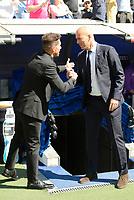 Real Madrid's coach Zinedine Zidane and Atletico de Madrid's coach Diego Pablo Simeone during La Liga match between Real Madrid and Atletico de Madrid at Santiago Bernabeu Stadium in Madrid, April 08, 2017. Spain.<br /> (ALTERPHOTOS/BorjaB.Hojas)
