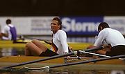 Bled, Slovenia, YUGOSLAVIA.  DDR/RDA. M4-. stroke. Olaf FOERSTER. 1989 World Rowing Championships, Lake Bled. [Mandatory Credit. Peter Spurrier/Intersport Images]