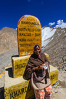 Summit of Khardungla Pass. At 18,379 feet, the pass is the highest motorable road in the world. Ladakh, Jammu and Kashmir State, India.