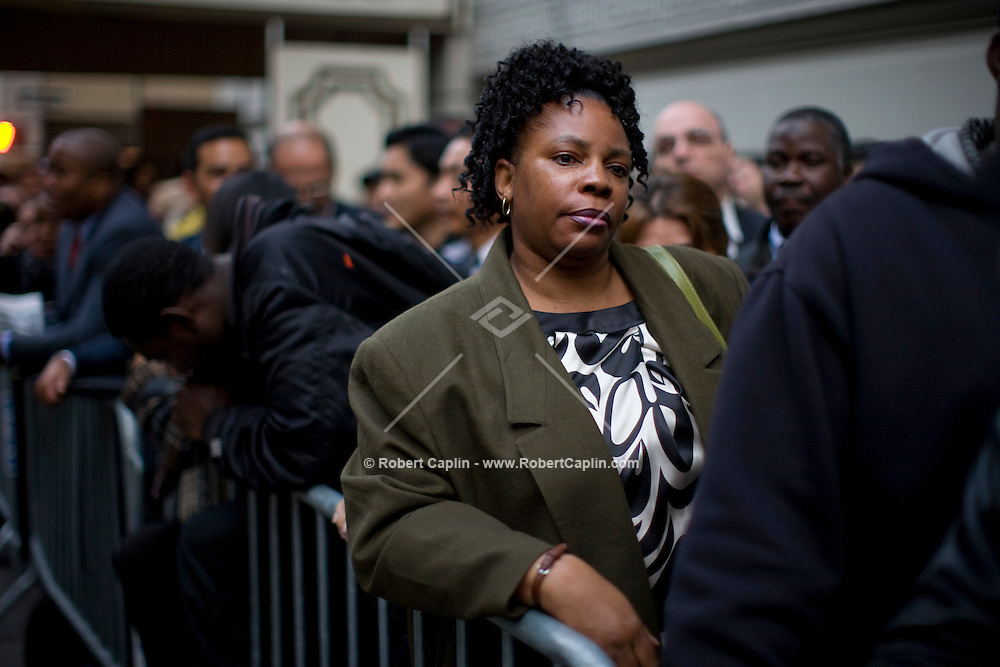 Nadine Miller. Lines of both employed and unemployed job hunters wait in line for a job fair at Pierre Hotel in Manhattan. Thousands showed up for the fair and most waited in line for upwards of 8 hours.  Nov. 7, 2008.