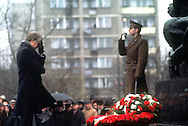 A 27.6 MG IMAGE OF:.President Jimmy Carter prays at the monument to the Polish Military fallen during his visit to Poland.  Photo by Dennis Brack B 1