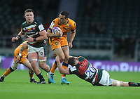 Rugby Union - 2020 / 2021 European Rugby Challenge Cup - Final - Leicester Tigers vs Montpellier - Twickenham<br /> <br /> Alex Lozowski of Montpellier evades a tackle from Tommy Reffell<br /> <br /> Credit : Colorsport / Andrew Cowie