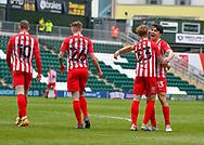 GOAL 1-3 Sunderland Defender Denver Hume (33)and Sunderland Midfielder Luke O'Nien (13) celebrates a goal  during the EFL Sky Bet League 1 match between Plymouth Argyle and Sunderland at Home Park, Plymouth, England on 1 May 2021.