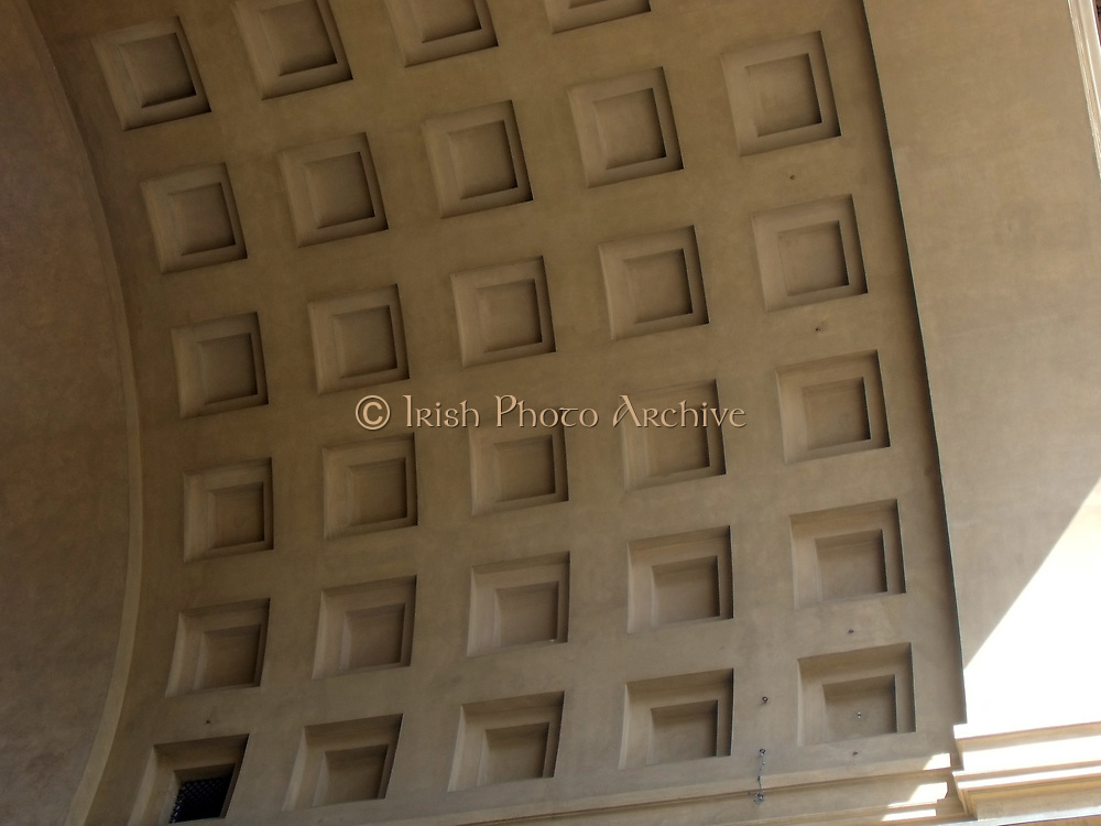 Detail from the triumphal arch at Piazza della Repubblica, Florence, Italy. The ancient centre of the city which was restored in the 19th century, when Florence was briefly made the capital city of a reunited Italy. The arch was completed in 1895, and bears a plaque with the date and statement of the restoration.