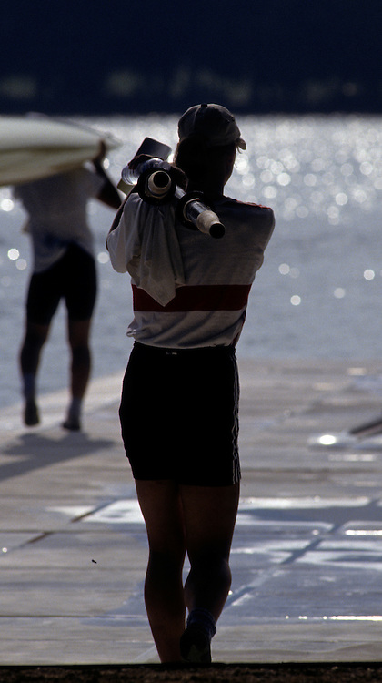 Barcelona, SPAIN. General Views round the boating area, GER athlete carry oars blades 1992 Olympic Rowing Regatta Lake Banyoles, Catalonia [Mandatory Credit Peter Spurrier/ Intersport Images]