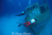 tech divers using Draeger / Uwatec semi-closed<br /> rebreathers explore the wreck of the <br /> Bahama Mama, Nassau, Bahamas<br /> ( Western Atlantic Ocean )  MR 244 MR 248