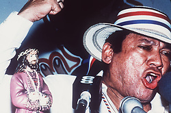 At a public rally in Santiago in 1989, a town several hours outside of Panama City, Panamanian dictator Manuel Noriega speaks harshly about U.S. involvement in Panamanian affairs, accusing the Bush administration of direct involvement in the unsuccessful coup attempt to remove him from power. One-time Panamanian dictator Manuel Noriega is being remembered as a ruthless strongman of volatile CIA operative and a brash drug trafficker. Noriega was removed from office in the 1989 U.S. invasion of Panama. He died last night at 83. Photo by David Walters/The Miami Herald/TNS/ABACAPRESS.COM