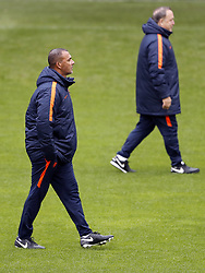 (L-R) assistant trainer Ruud Gullit of Holland, coach Dick Advocaat of Holland during a training session prior to the FIFA World Cup 2018 qualifying match between Belarus and Netherlands on October 06, 2017 at Borisov Arena in Borisov,  Belarus