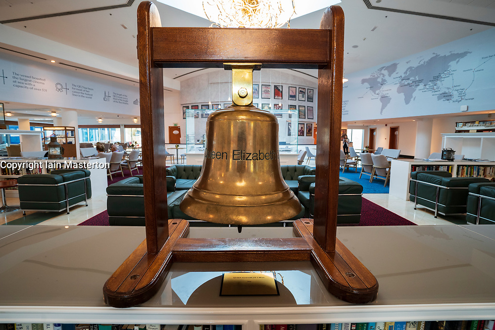 Detail of ship's bell from the Queen Elizabeth 2 cruise liner on display at new QE2 hotel in Dubai, United Arab Emirates.