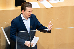 14.01.2021, Hofburg, Wien, AUT, Parlament, Sondersitzung des Nationalrates zu Corona-Gesetz, Kocher-Vorstellung und Bundesministeriengesetz, im Bild Sebastian Kurz (OeVP) // during a meeting of the National Council about Corona Act, Kocher presentation, and Federal Ministries Act at the Hofburg palace in Vienna, Austria on 2021/01/14, EXPA Pictures © 2021, PhotoCredit: EXPA/ Florian Schroetter