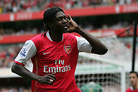 Photo: Lee Earle.<br /> Arsenal v Portsmouth. The FA Barclays Premiership. 02/09/2007.Arsenal's Emmanuel Adebayor celebrates scoring their opening goal.