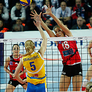 Vakifbank GS TT's Maja POLJAK (R) during their Women's Volleyball CEV Champions League semi final match at Burhan Felek Arena in Istanbul, Turkey on 20 March 2011. Photo by TURKPIX