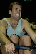 Birmingham, GREAT BRITAIN, Kieran WEST, face contorted in agony during the closing 100 meters of the HWT Men's BUSA category, at the British Indoor Rowing Championships, National Indoor Arena, Birmingham, ENGLAND. 12/11/2006, [Photo, Peter Spurrier/Intersport-images].....