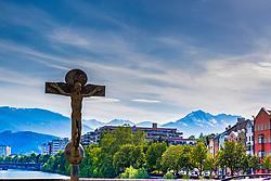 Bronze Crucifixion at the bridge across the Inn river, Innsbruck, Tyrol, Austria
