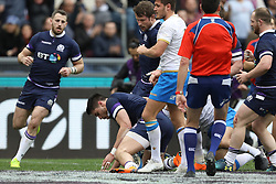 March 17, 2018 - Rome, RM, Italy - Sean Maitland of Scotland mark a point during the Six Nations 2018 match between Italy and Scotland at Olympic Stadium on March 17, 2018 in Rome, Italy. (Credit Image: © Danilo Di Giovanni/NurPhoto via ZUMA Press)