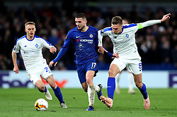 Chelsea's Mateo Kovacic (centre) battles for the ball with Dynamo Kiev's Serhiy Sydorchuk