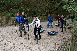 Art, Cathelijne, Toine and Loes in training for the Camino 2020 at the Soesterduinen on March 08, 2020 in Soest, Netherlands