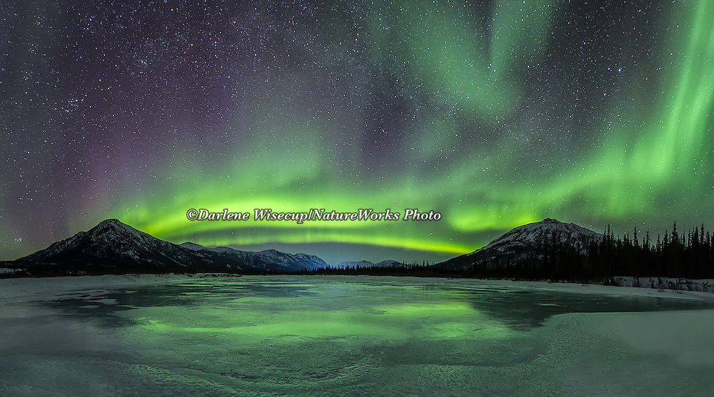 The aurora borealis lights up a star filled sky over the Brooks Range in northern Alaska and reflect off the ice