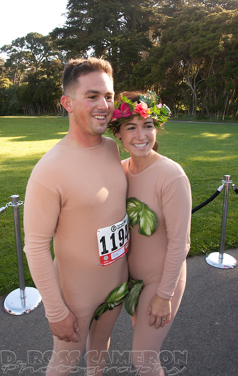 Jesse and Jessica Mathieu of Sacramento, Calif. donned fig leaves for their portrayal of Adam and Eve at the 101st Bay to Breakers 12K footrace, Sunday, May 20, 2012 in San Francisco. More than 50,000 people ran, walked, danced, staggered or otherwise locomoted through the 7.46-mile course that starts at San Francisco Bay and ends at the Pacific Ocean. (Photo by D. Ross Cameron)