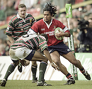 Watford. Great Britain. <br /> Terry FANOLUA, running on the wing witht he ball during the Heineken Cup Semi Final; Gloucester Rugby vs Leicester Tigers. Vicarage Road Stadium, Hertfordshire.England.  <br /> <br /> [Mandatory Credit, Peter Spurrier/ Intersport Images].
